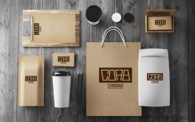 四杯咖啡标志设计
