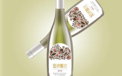 金海雅兰品牌的红酒标包装设计