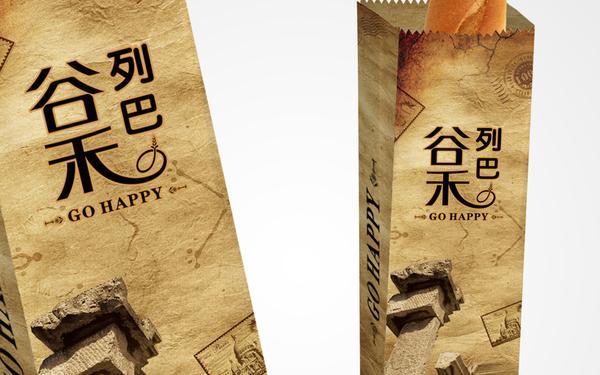 谷禾列巴面包纸袋设计