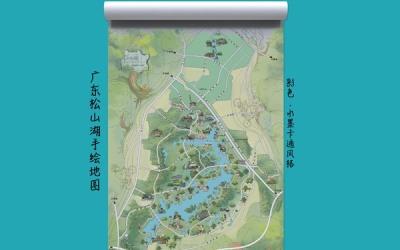 广东松山湖景区手绘旅游地图