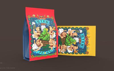 娃子米粽 logo 插画 包装...