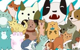 猫狗网页插画