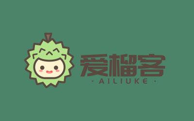 生鲜品牌爱榴客卡通logo设计...