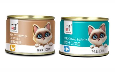 一方萌主猫粮罐头包装设计