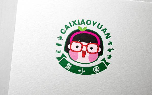 菜小圆生鲜连锁卡通LOGO设计