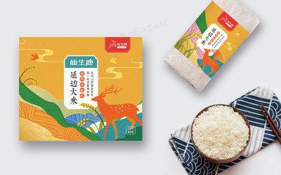 食品行业 仙生鹿大米包装设计