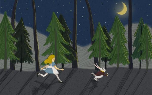 爱丽丝梦游故事插画