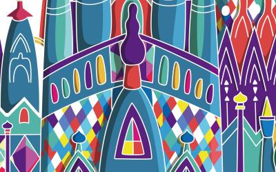 卡通教堂插图——旅游纪念