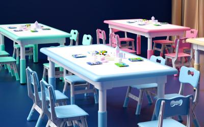 博艺游乐儿童塑料桌椅详情页设计