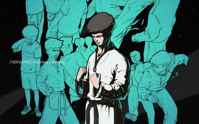 跆拳道插画设计