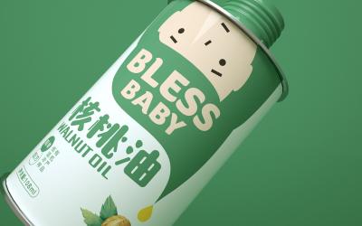 儿童核桃油包装设计   瓶型包...