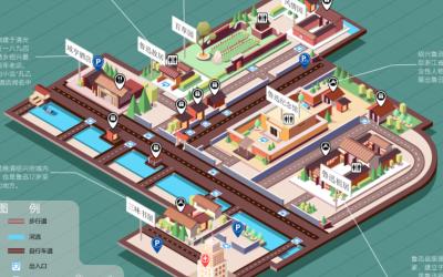 鲁迅故里地图2.5D插画设计