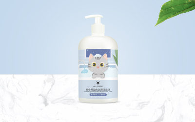 猫沐浴乳手绘包装设计