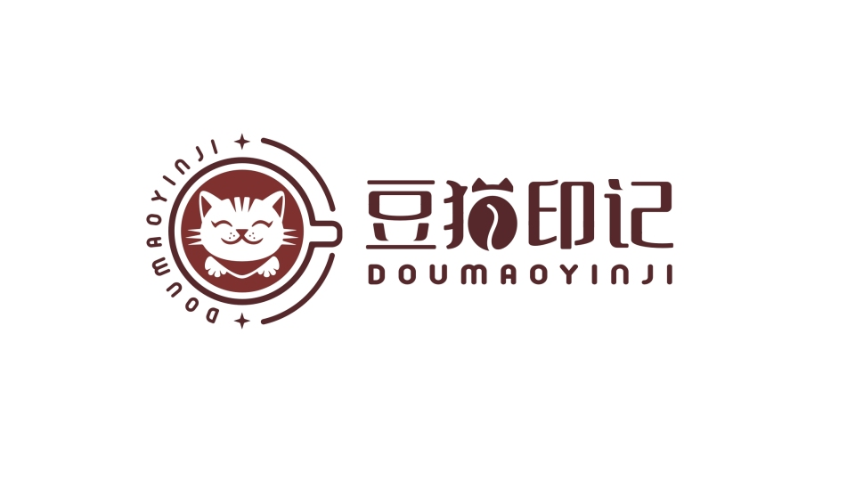 豆猫印记咖啡馆LOGO设计