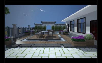 孔子酒业楼顶休闲庭院景观设计