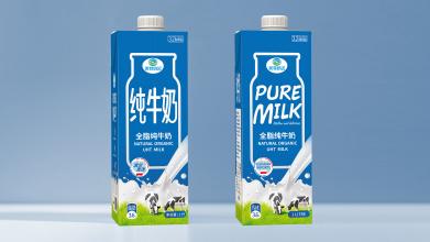 美特奶白牛奶包装设计