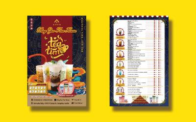 星座茶屋奶茶店宣傳單設計