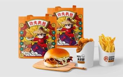 餐饮小吃汉堡扒包外袋手提袋纸袋...