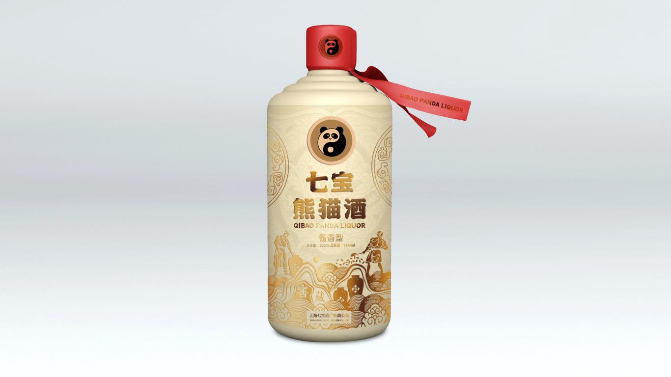 七宝熊猫酒白酒包装设计中标图0
