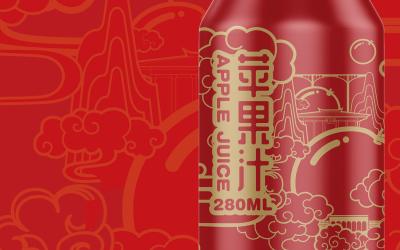 苹果汁易拉罐包装