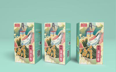 重庆特色蛋卷手绘包装盒