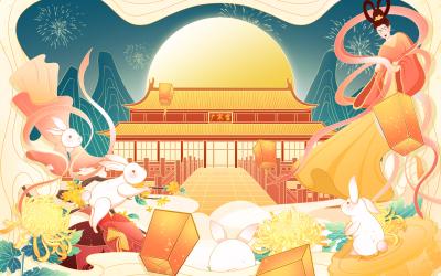 中秋节月饼包装插画